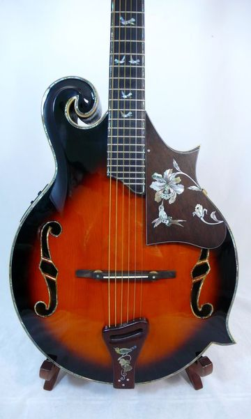Ukulele - Great design, F5 Guitar, excellent MOP hummingbird inlay, with Fishman EQ